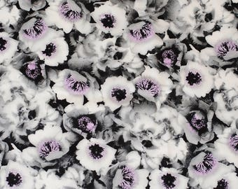 Black and White Floral Cotton Fabric-2 Meters