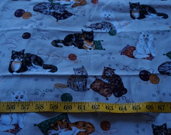 Cats Kittens all Over Tan Natures Corner Fabric - 1 1/2 yards