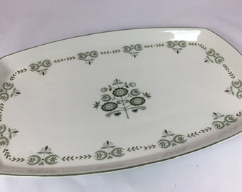 Vintage Franciscan Discovery Heritage Platter Green floral squared tray