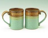 Coffee Mug Singles | Rustic Sturdy Handmade Pottery 12-14 oz Tea Mug | Honey & Sea Mist Stoneware Soup Mug - Holiday Gift for Men or Women