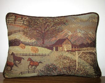 Horses Stallions Horse Ranch Farm Tapestry Pillow Piping Trim Throw Pillow Decorator