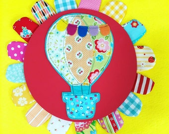 Petal Picture (RED) -- Mixed Media Hot Air Balloon Wall Art