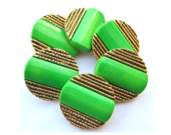 Vintage buttons bronze color plastic with green plastic, 6 buttons, 28mm