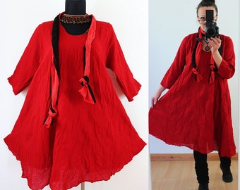 Red FLOATY CRINKLE DRESS with matching Scarf us Plus Size 14 16 18 20 Gypsy Gothic Lagenlook Linen Cotton Spring Summer