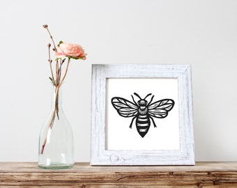 Digital Download Art, Honey Bee Linocut Print Image, 8x10 Digital Download