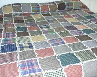 Rag Quilt Kit, DIY Rag Quilt, Prefringed Rag Quilt Kit, King size Rag Quilt, Homespun Rag Quilt, We Cut You Sew