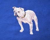 Vintage Needlepoint Bulldog Complete Canvas Oversized White Dog on Royal Blue Background