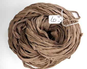 CHIFFON sari ribbon, Recycled Silk Chiffon Sari Ribbon, silk chiffon ribbon, Taupe brown sari ribbon, tassel supply, knitting supply