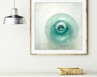 Aqua blue minimal wall art - japanese glass float  - beach cottage decor - bathroom wall art print  'Long Way From Home'