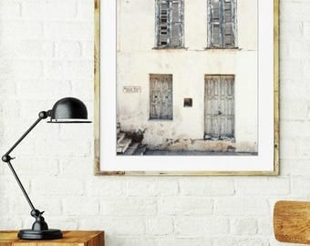 "Greece Photography Neutral Wall Art Beige Cream Old Doors Architecture Print ""Ivory Gray House"""