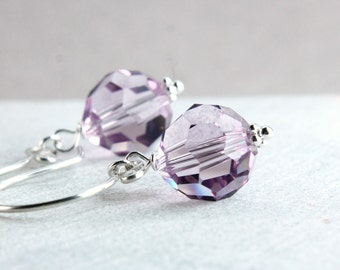 Pink Swarovski Crystal Earrings Sterling Silver Purple Swarovsky Crystal Jewelry  Handmade Accessories Austrian Jewellery