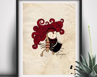 Scorpio Art, Scorpio Constelation, Scorpio Wall Print, Astrology Gifts, Custom Name Print, Scorpio Illustration