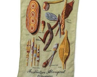 Vintage Australian Souvenir Tea Towel Tribal Weapons
