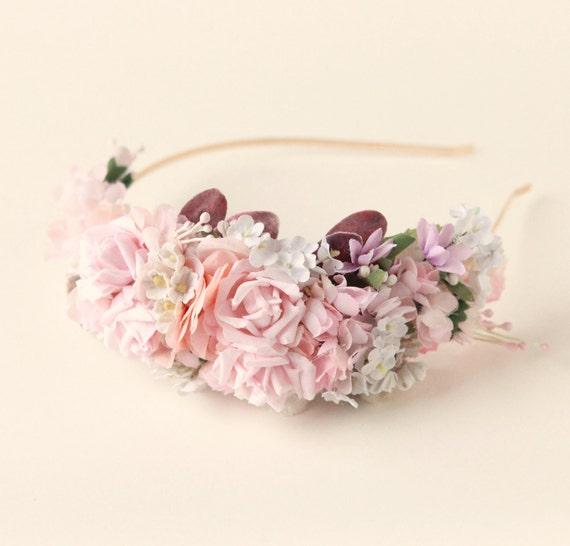 Vintage flower headband, Pink millinery headpiece, Rose floral fascinator, Pink bridesmaid headband, Bridesmaid hair, Blush bridal hair
