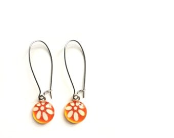 Orange earrings | flower | dangle | Handpainted glass by azurine