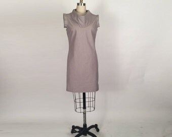 Alena Designs - Klara - Sheath Shift  Dress with Wing Sleeves and Cowl Neck Cotton Lycra - Grey Cream Stripe