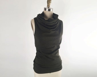 Alena Designs - Funnel - Funnel Neck Sleeveless Top Bamboo Cotton Lycra Heather Forest