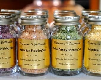 Herbal Finishing Salt Sampler - Basil, Nasturtium, Parsley, Calendula