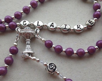 Girls Personalized Custom Keepsake First Holy Communion Rosary