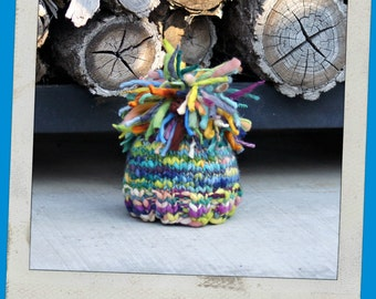 NEWBORN Photography Prop - Baby Knit Hat - Twin Prop - PeachPoshPolkadots - Handdyed and Handspun yarn