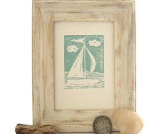 Nursery Wall Decor, Sailboat Print, Green Nursery Decor, Sailboat Art, Dark Mint Green, Nautical Nursery, Beach House Decor Summer House Art