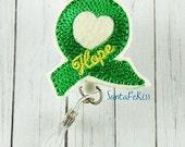 Mental Health Awareness ID Badge, Embroidered Felt Badge Reel, Retractable Badge Holder, Medical Badge Holder, Psych Badge Holder, Lanyard