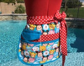 Sassy Teacher Apron, Half Apron with 6-8 pockets, Plus Sizes, Great for Vendors, Gardening, Utility, Crafts,Teacher Gifts, Back to School