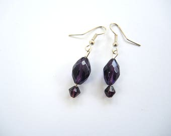 NEW Aubergine Facet dark purple and silvertone earrings- dangles acrylic beads with free gift bag OOAK unique ready to ship