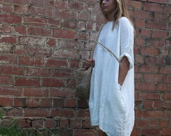 Summer Cream Light Linen Dress