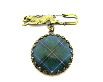 Scottish Tartan Jewelry - Ancient Romance - Henderson Clan Tartan Scottish Hare Fob Brooch in Crown Edge Bezel Setting
