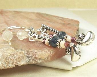 Golf Club Earrings, Garnet Earrings, Grey Quartz Earrings, Creamy White Crystal Earrings, Sterling Silver Earrings, Gemstone Earrings, Sport