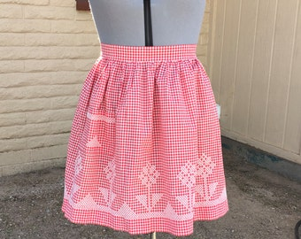 Vintage Red Gingham Embroidered Half Apron Retro Kitchen 60s Rockabilly