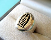 Hopi Howling Coyote Sterling Silver Overlay Ring Size 6.5