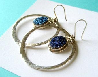 SALE..Jumbo Sterling Silver Hammered Hoop and Druzy Earrings