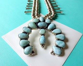 Navajo Sterling Silver and Larimar Squash Blossom Necklace