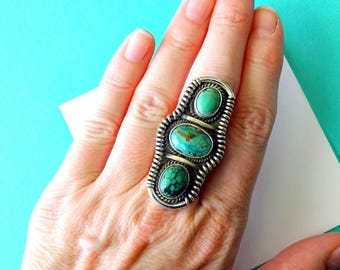 SALE...Huge Navajo Triple Turquoise and Sterling Silver Ring Size 7