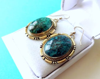 Navajo Number Eight Turquoise and Sterling Earrings