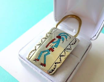 Navajo Sterling Silver and Turquoise Chip Kokopelli Inlay Key Ring