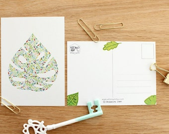 Monstera leaves postcards - set of 4 . Swiss cheese indoor plant