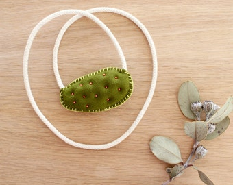 Embroidered Necklace . Mandarine Prickly Pear Necklace . Cactus Necklace . One of a Kind . Rope Necklace . Soft Tufted Necklace .Merino Wool