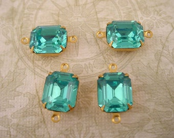 4 vintage glass aquamarine  aqua Octagon 12x10 stones in closed  back brass setting 2 ring connector charms