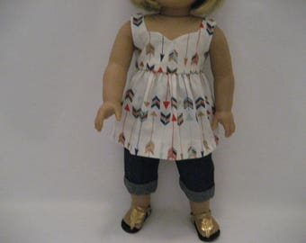 18 Inch Doll Clothes - Lots of Arrows Top with Cuffed Jeans made to fits dolls such as the American Girl doll clothes
