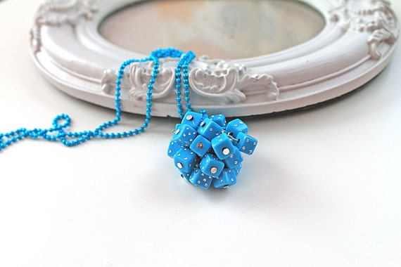 Blue Dice Kawaii long Necklace Gothic Lolita kitsch