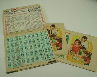 Set Of Three S & H Green Stamp Quick Saver Books With Stamps Sperry And Hutchinson
