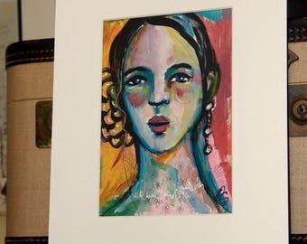 Portrait Study #4 - Original Portrait with Mat Board