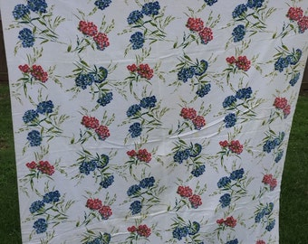 Vintage Red and Blue Floral 1950's Era Tablecloth