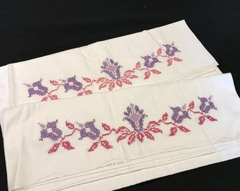 Pair of Vintage White Cotton Blend Pillowcases with Pink & Purple Cross Stitch Flowers