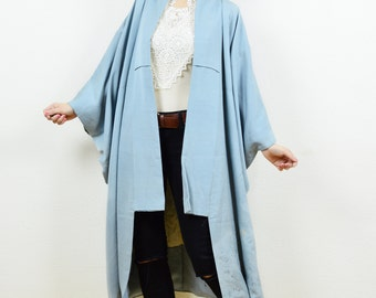 Vintage antique kimono, kimono jacket, vintage kimono, Japanese kimono, 80s kimono, midi length kimono, blue kimono, boho kimono, kimono