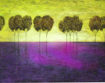 Abstract textured modern tree  painting original art made to order marems