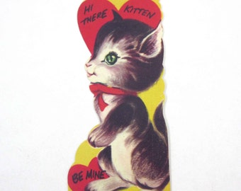 Vintage Children's Novelty Valentine Greeting Card with Cute Cat and Hearts
